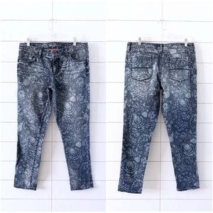 Merona Blue Floral Print Denim Ankle Skinny Jeans